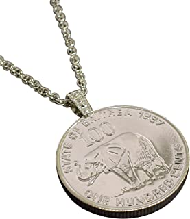 product image for American Coin Treasures Lucky Elephant Coin Pendant | Mother and Baby Elephants | Silvertone 24 Inch Rope Chain | Certificate of Authenticity |