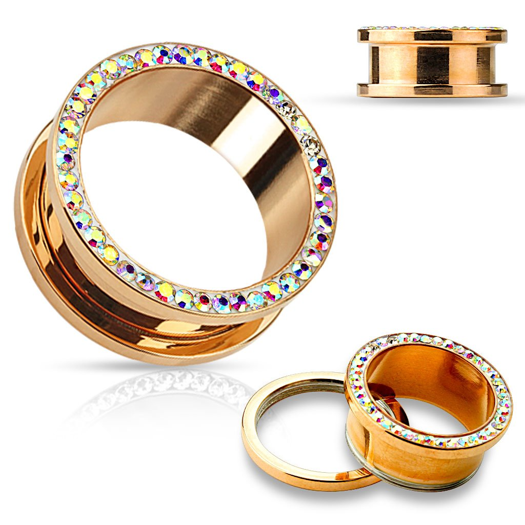 Rose Gold Plated Aurora Borealis Crystals Screw Fit Tunnels, Ear Plugs Gauges - 13 Sizes Available - Sold As Pair (16mm - 5/8'')