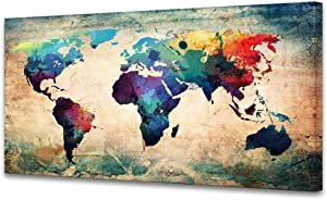A62075 Baisuwallart Abstract World Map Canvas Painting Vintage Posters and Prints Colorful Wall Art Wall Pictures Artwork Framed Ready to Hang for Living Room Bedroom Office Home Decor 30x60inch