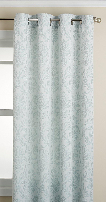 "LORRAINE HOME FASHIONS Stencil Grommet Window Curtain Panel, 54 inch x 63 inch, Mint, 54"" x 63"""