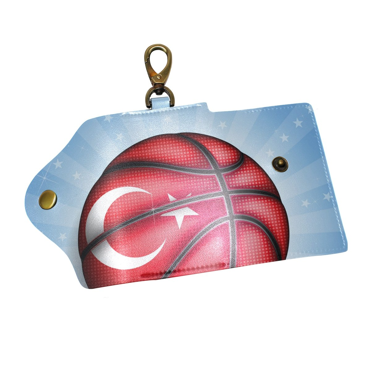 DEYYA Shiny Basketball Turkish Leather Key Case Wallets Unisex Keychain Key Holder with 6 Hooks Snap Closure