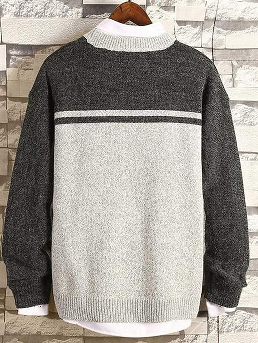OTW Men Color Blocked Loose Long Sleeve Knitting Crew Neck Pullover Sweater