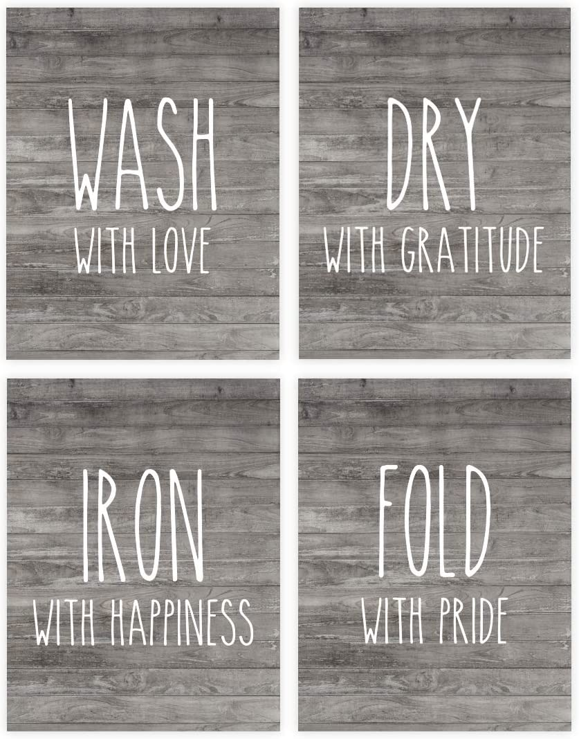 Andaz Press Laundry Room Wall Art Decor Signs, 8.5 x 11-inch Poster, Rustic Farmhouse Gray Wood, Wash with Love, Dry with Gratitude, Iron with Happiness, Fold with Pride, 4-Pack, Unframed