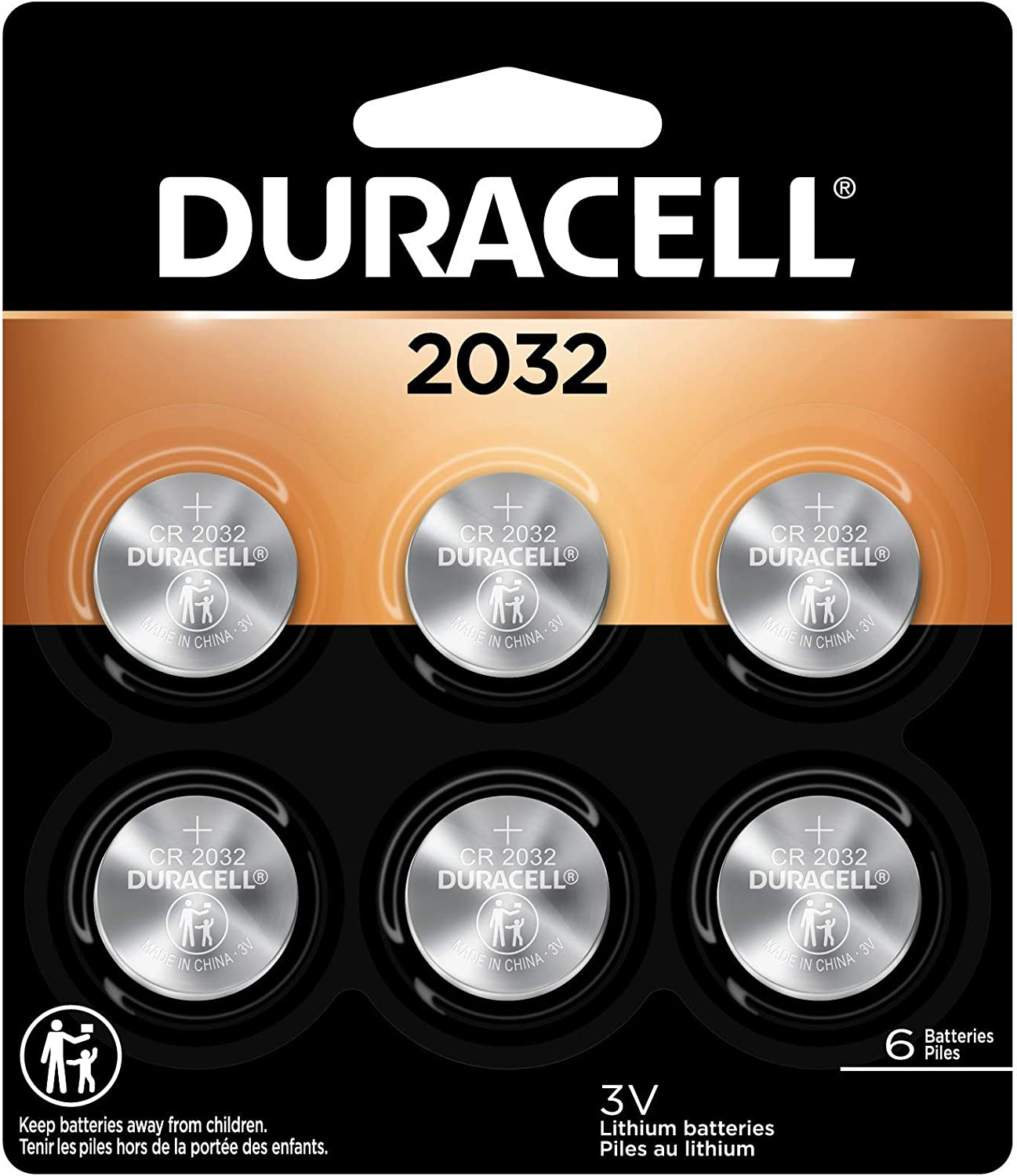 Duracell - 2032 3V Lithium Coin Battery - long lasting battery - 6 count