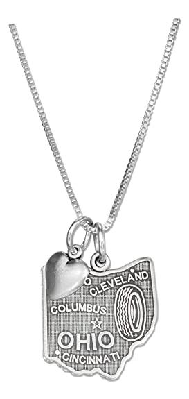 Amazon sterling silver 18 inch ohio state pendant necklace with sterling silver 18 inch ohio state pendant necklace with heart charm aloadofball Image collections