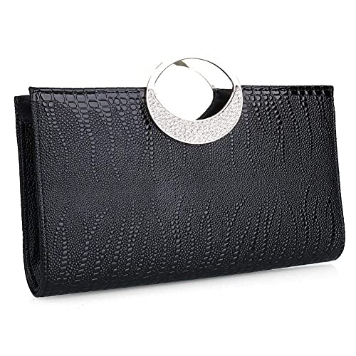 5f53699d705 Womens Luxury Evening Purse Clutch Rhinestone Leather Handbag Wallet for  Wedding and Party (Black)