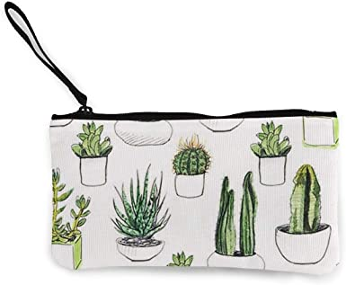 Girl Kid Cactus Canvas Coin Purse Change Pouch ID Card Storage Bag Wallet