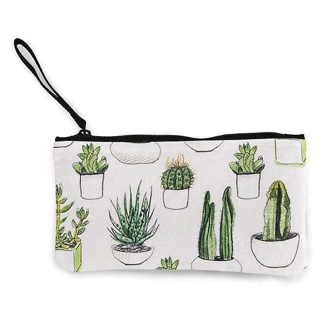 Amazon.com: Monedero de lienzo con diseño de cactus, bolsa ...