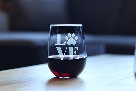 Copa de vino con diseño de huella de pata de amor para perros y gatos, copa de vino para vino blanco o rojo, frases grabadas, regalo: Amazon.es: Hogar