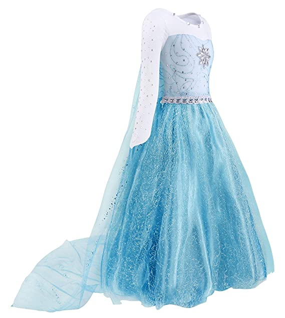 52cc9b3ce2 AmzBarley Elsa Costume for Girls Fancy Party Princess Cosplay Role Play  Dress Up Outfits