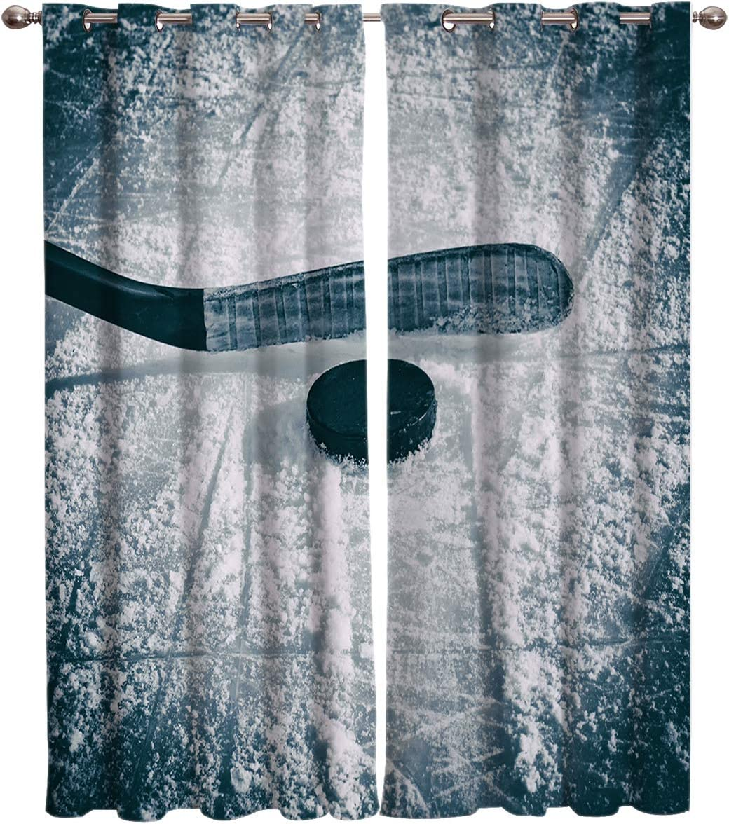 Arts Language 2 Panels Blackout Curtains for Boys Girls Bedroom Hockey Sports Ground Printed Windows Treatment Grommet Drapes for Livingroom Office 52 W X96 H InX2
