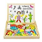 Magnetisches Holzpuzzle,Holzpuzzle Baby,Lernspielzeug,Magnet Kinderspielzeug,Doppelseitige Hölzerne Magnettafel Helle Farbenformen Puzzlespielkarten für Kinder 3 4 5 Jahre
