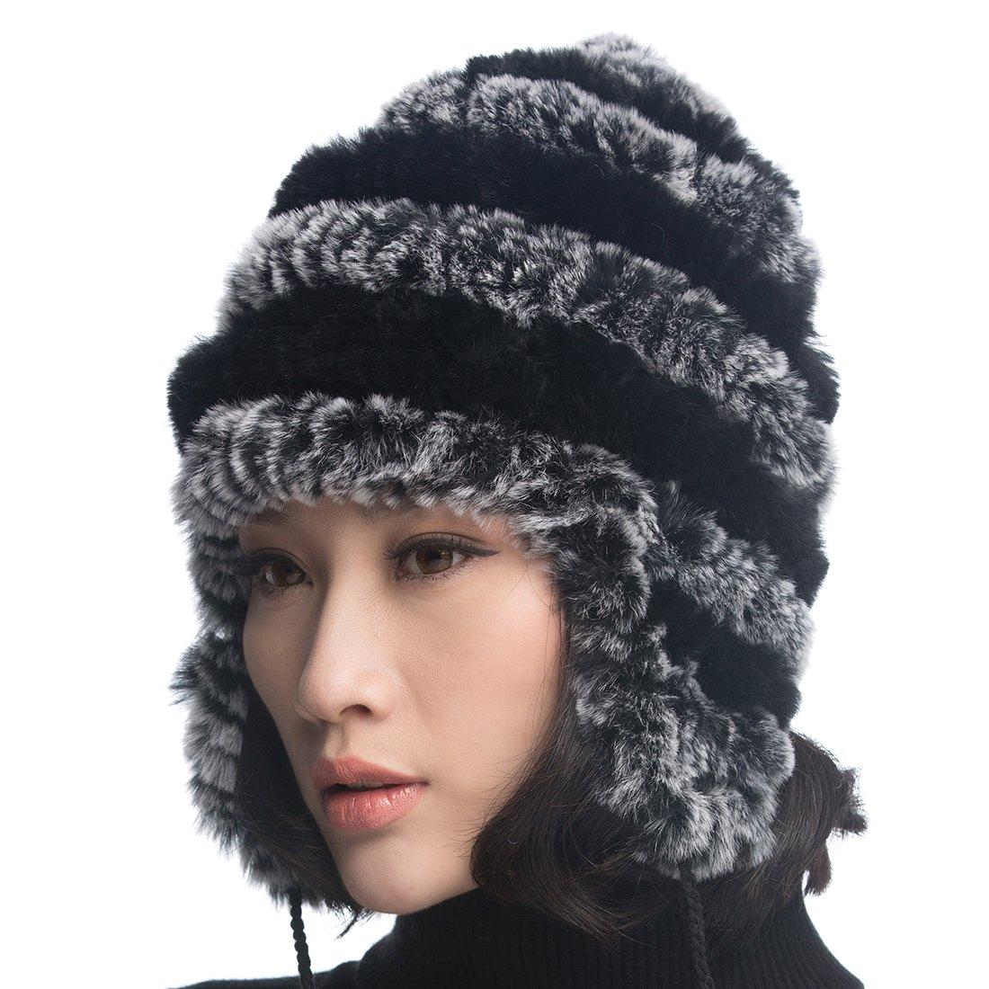 URSFUR Women's Rex Rabbit Fur Hats Winter Ear Cap Flexible Multicolor (Grey & Black)