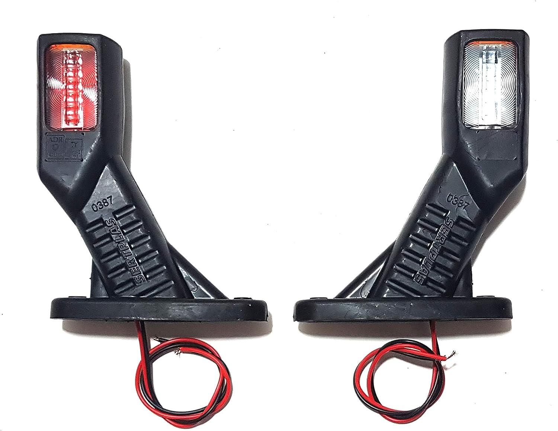 4 x 12 V 24 V LED Front-Seitenmarkierungsleuchten hinten Umrissleuchte mit Gummischicht Wei/ß Orange Rot Wasserdicht E-Pr/üfzeichen