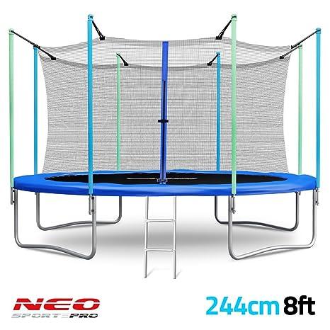 Trampolín de jardín 244 cm (243.84 cm) - 3-in-1 cama elástica con ...