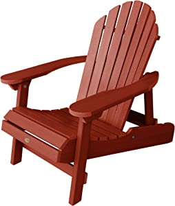 Highwood Hamilton Folding and Reclining Adirondack Chair, Adult Size, Rustic Red, Model Number: AD-CHL1-RED