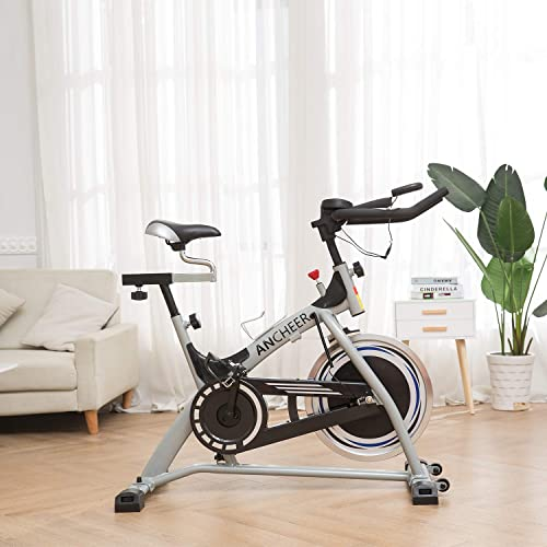 ANCHEER Indoor Cycling Bike Stationary, Quiet Smooth Belt Drive System Flywheel Exercise Bike with Heart Rate, LCD Monitor, Adjustable Seat and Handlebars Base for Home Workout