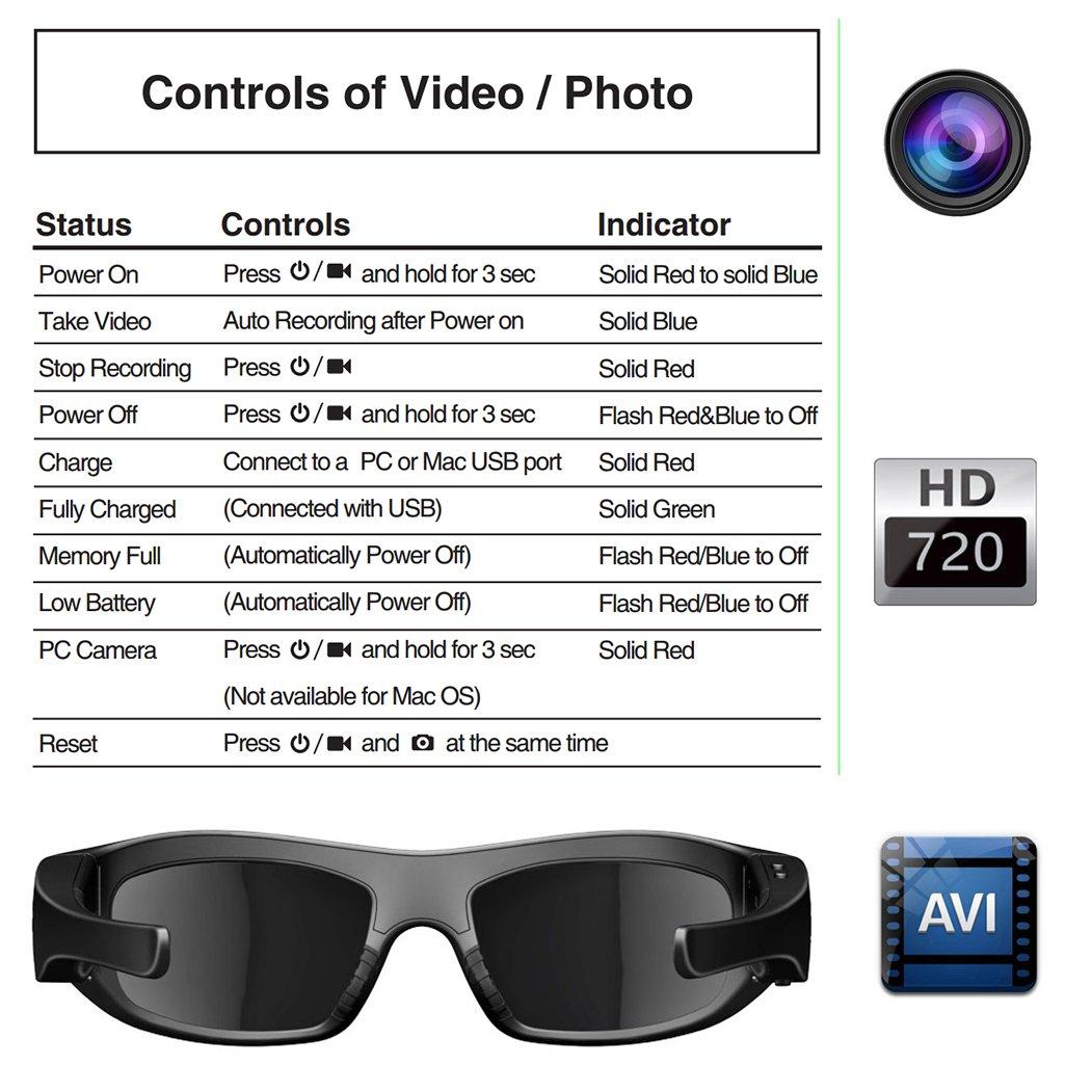 DCCN Kamera Brille Cam Brille polarisierte Sonnenbrille: Amazon.de ...