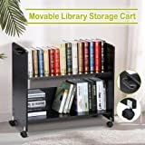 go2buyMovable Library Cart Welded Bookcase Rolling Book Storage Rack Trolley Black