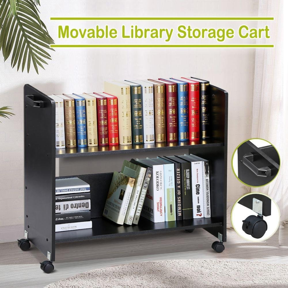 Amazon Go2buy Movable Library Cart Welded Bookcase Rolling Book Storage Rack Trolley Black Office Products