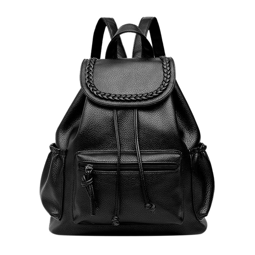 Gowind7 Backpack for Women Grils PU Leather Casual Soft Travel Bag To School (Black)