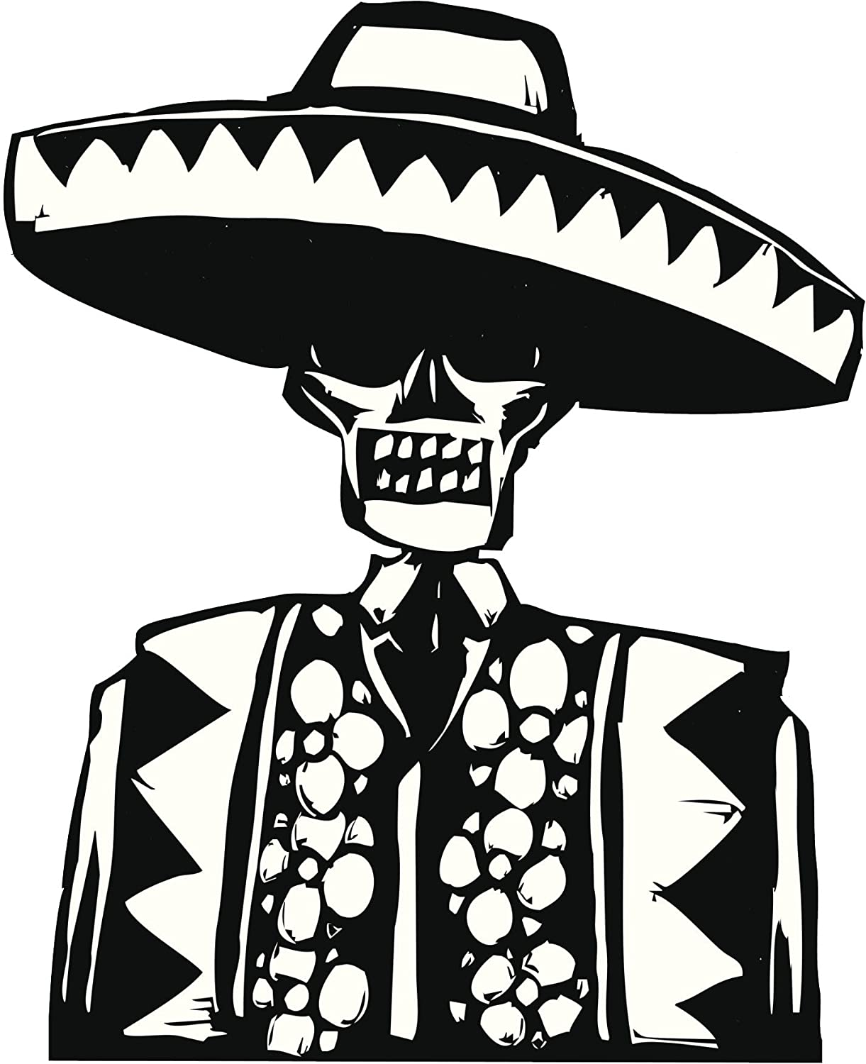 Amazon com traditional mexican skeleton with sombrero black white vinyl decal sticker two in one pack 12 inches tall home kitchen