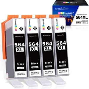 GPC Image Compatible Ink Cartridge Replacement for HP 564XL 564 XL to use with DeskJet 3520 3522 Officejet 4620 Photosmart 5520 6510 7520 7525 (4 Black)
