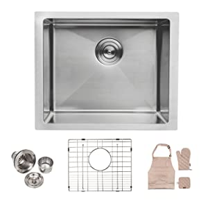Lordear LU2318R1 23 x 18 Inch Undermount Deep Single Bowl 16 Gauge R10 Tight Radius Stainless Steel Kitchen Sink