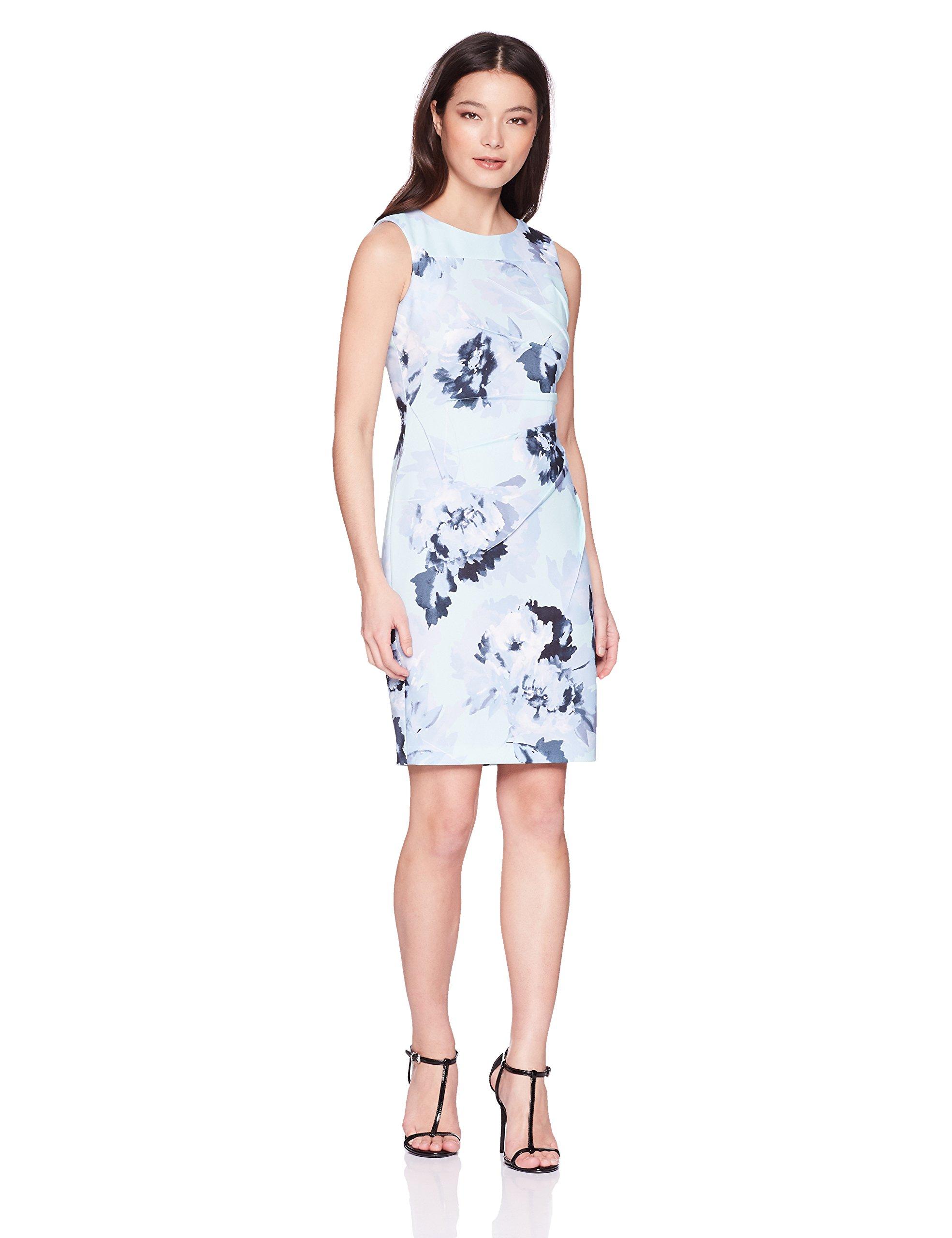 Calvin Klein Women's Petite Sleeveless Starburst Sheath Dress, Serene Multi, 8P