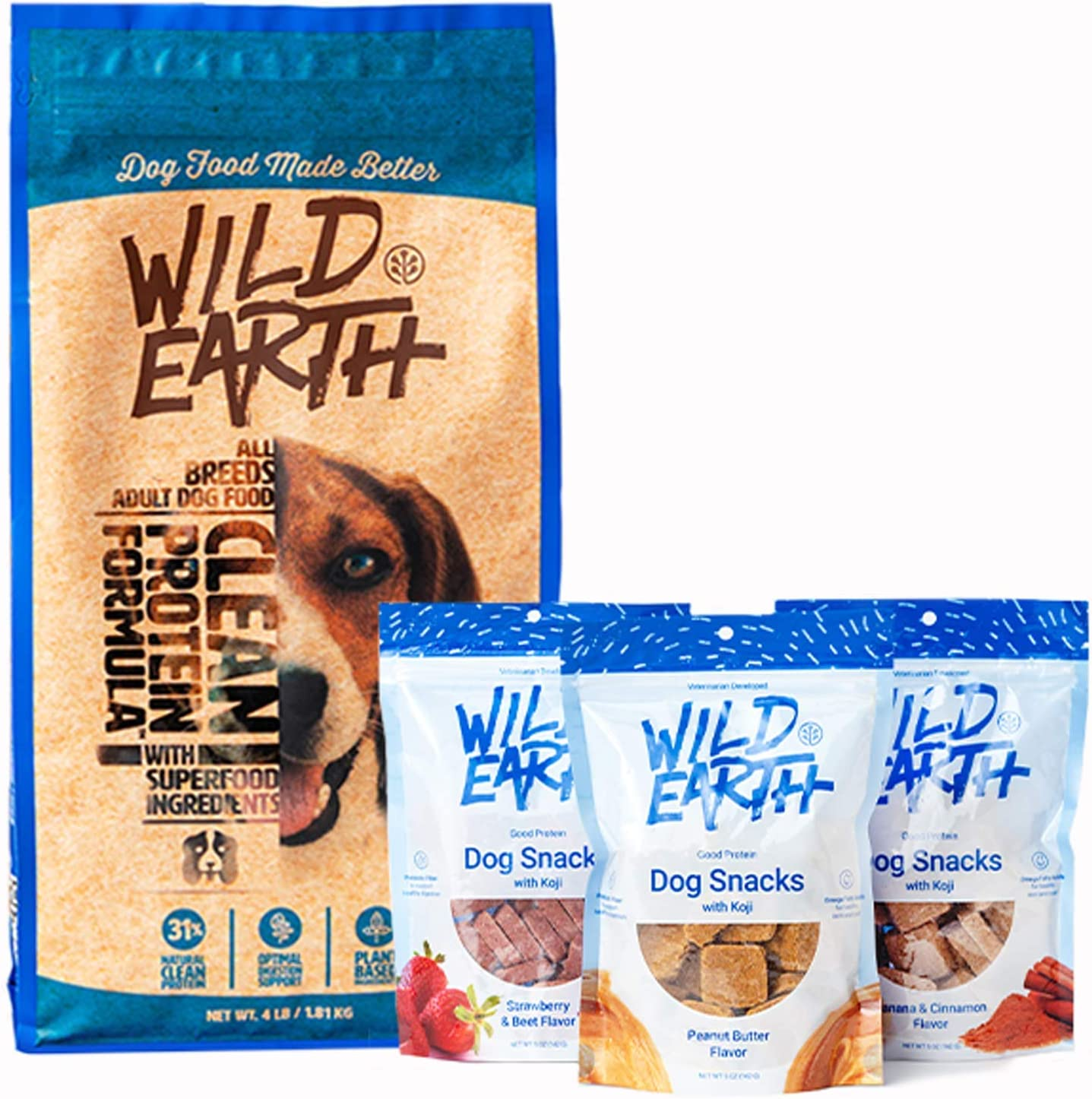 Wild Earth Vegan High Protein Formula Dry Dog Food and Clean Protein Dog Treats (Variety Pack)