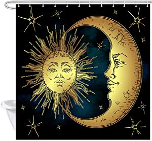 NYMB Boho Chic Art Shower Curtain, Golden Sun Moon and Stars Over Blue Black Sky Antique Style,Fabric Bathroom Decorations Bath Curtains 12PCS Hooks, 69X70 inches
