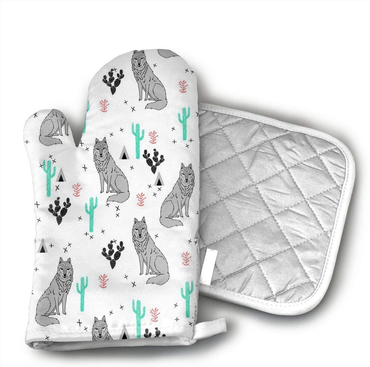 Ubnz17X Wolf Cactus Oven Mitts and Pot Holders for Kitchen Set with Cotton Non-Slip Grip,Heat Resistant