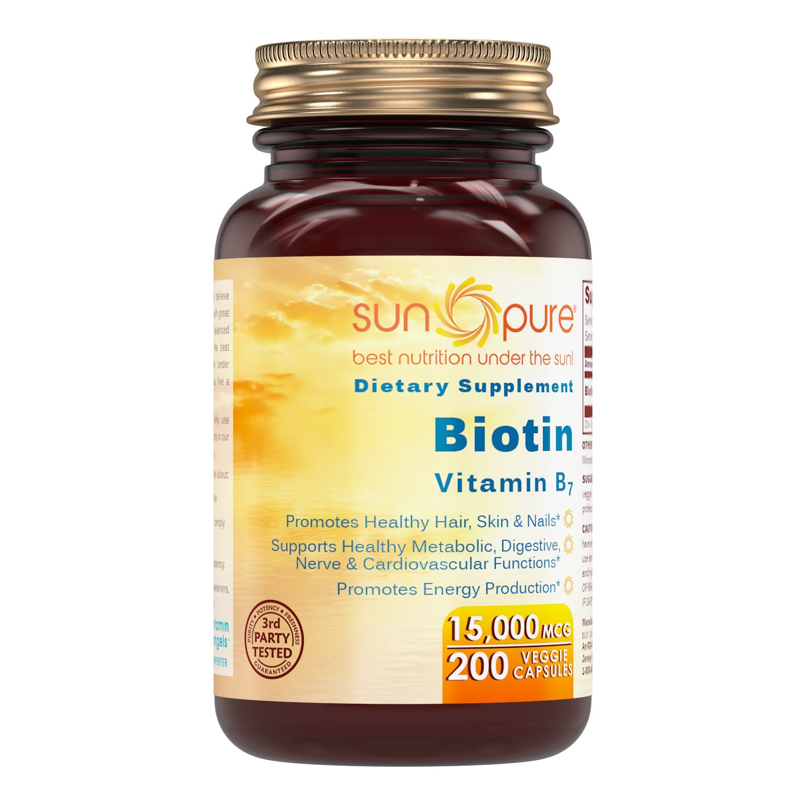 Sun Pure Premium Quality Biotin 15,000 Mcg, Veggie Capsules Glass Bottle Per Bottle - Promotes Healthy Hair, Skin & Nails - Promotes Energy Production. (200 Count)