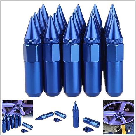 20Pcs M12/x 1.5/con rivetti in lega di alluminio ruota auto esteso regolazione dadi//cerchi 60/mm blu