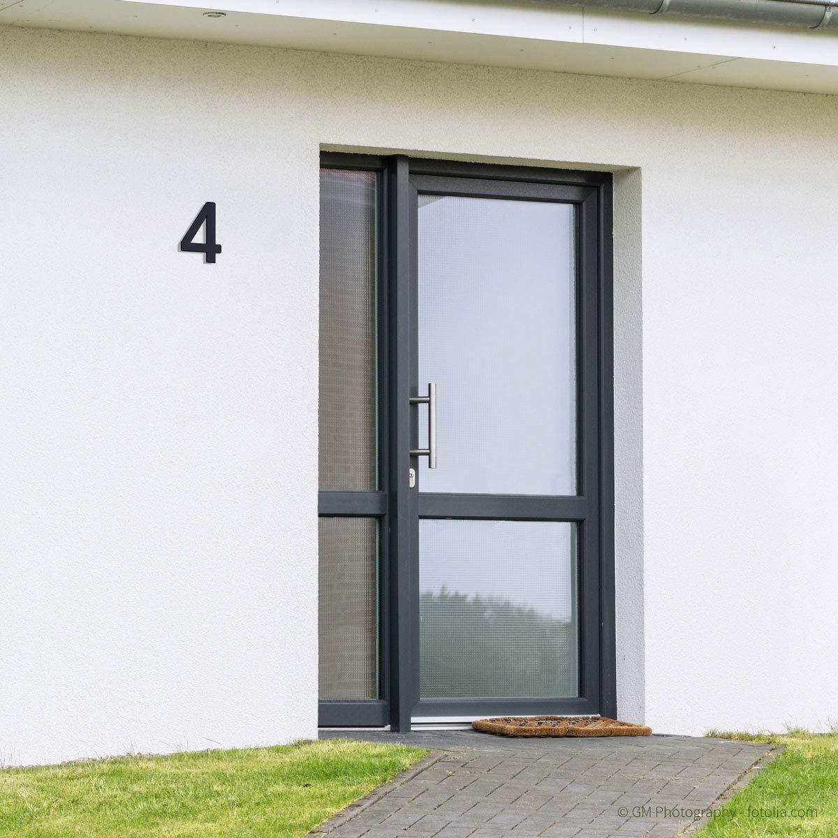 H: 200mm anthrazit pulverbeschichtet 1 Thorwa/® Design Edelstahl Hausnummer modern Avant Garde Stil RAL 7016