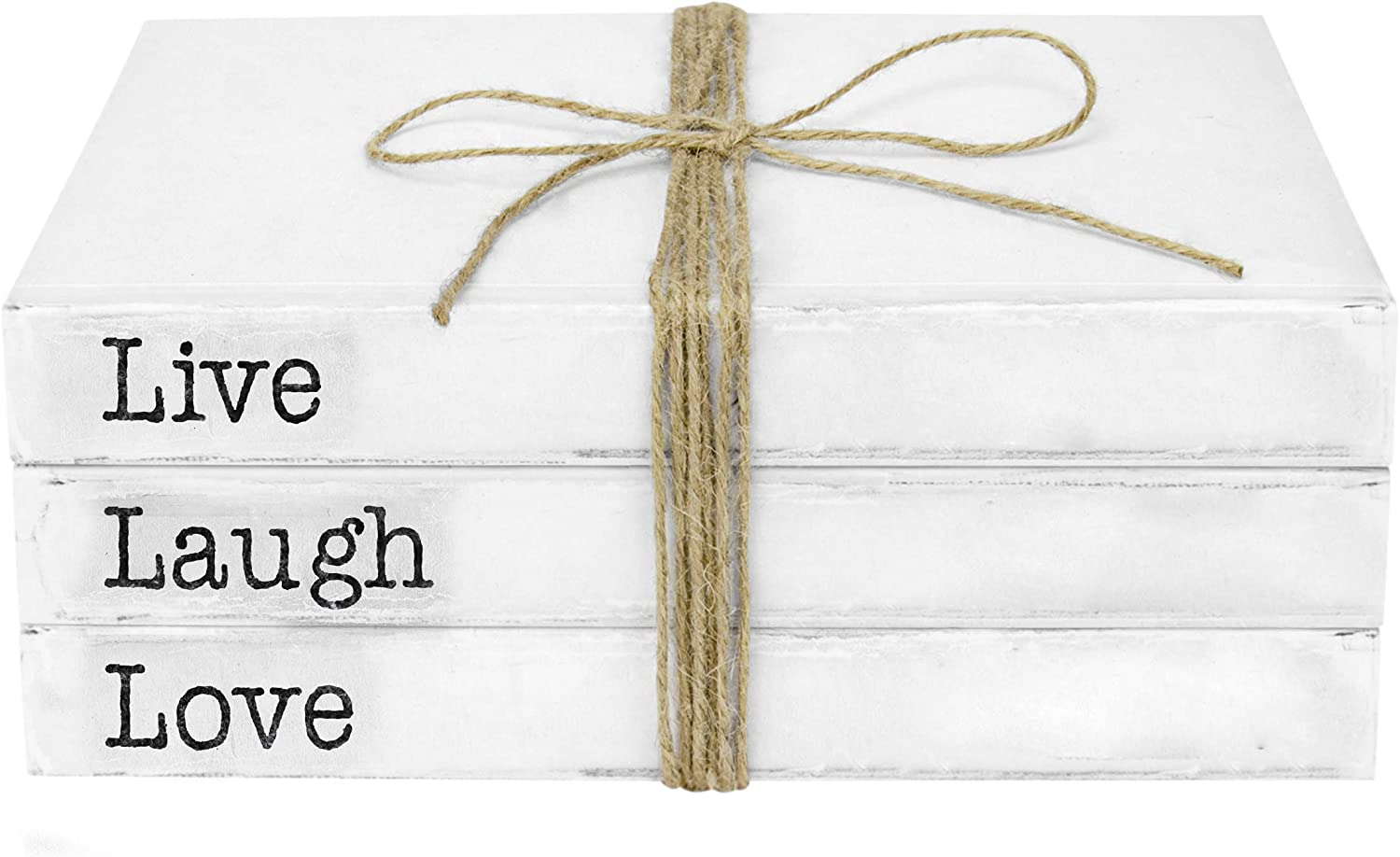 TenXVI Designs Decorative White Books, Set of 3 - Live Laugh Love Stacked Books - Rustic Farmhouse Accent Decor for a Living Room Coffee Table, Entryway Shelf, End Table, Mantel & Bedroom Night Stand