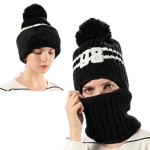 4960f7b3043 Girls Thick Knit Balaclava Beanie Windproof Ski Face Mask Winter Hat for  Kids Black