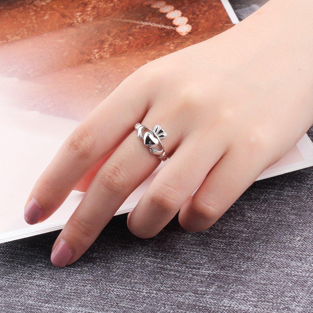 Amazon.com: S925 plata de ley Ladies anillo de Claddagh ...