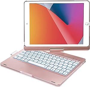 iPad Keyboard Case for iPad 10.2 inch 8th Gen 2020, iPad 7th Gen 2019, iPad Air 3 10.5 2019, iPad Pro 10.5 2017, 360 Rotation, 7 Colors Backlight, with Apple Pencil Holder – Rose Gold