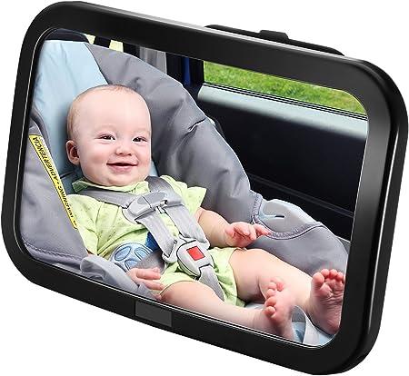 【Amplia & Reflexión Cristal】Espejo retrovisor bebe,Mejora la seguridad por amplia vista de relfexión