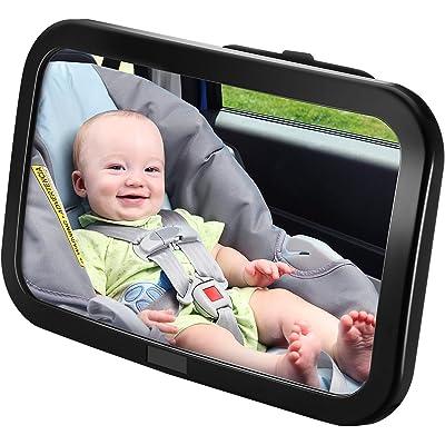 Espejo Retrovisor Coche de VicTsing para Vigilar al Bebé en el Coche, 360° Ajustable Irrompible Interior Espejo Coche Bebé, para Los Asientos de Niños Orientados Hacia Atrás,100% Inastillable