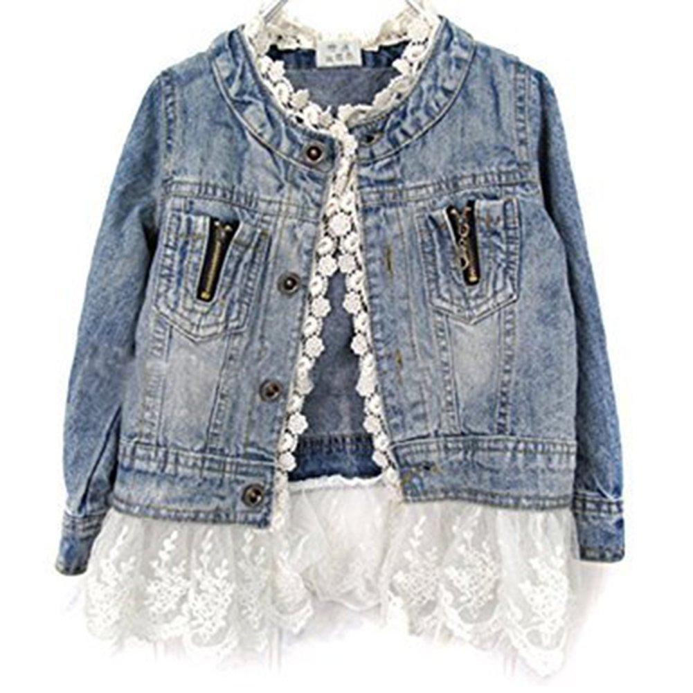 Girls//kids Fashion Jean Jacket,Denim Jeans Lace Outwear Jacket Cowboy Overcoat