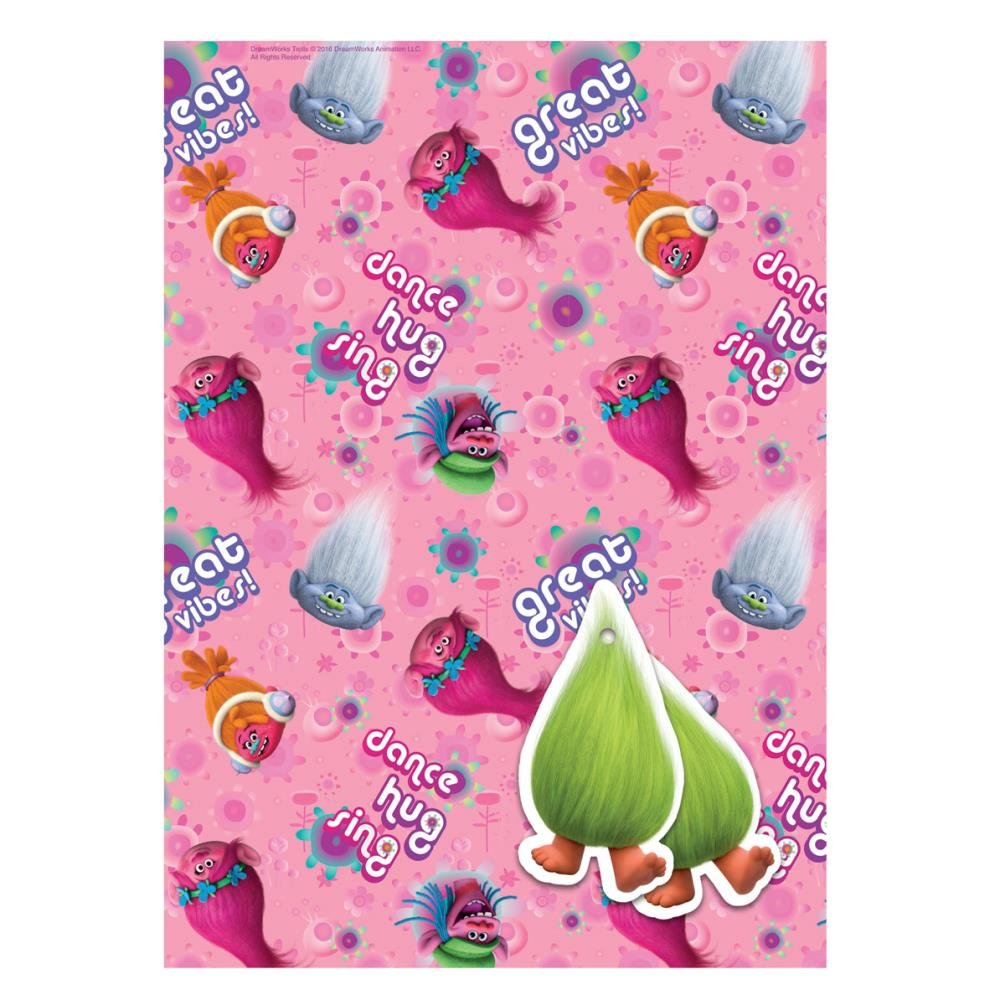 trolls 2 sheets of gift wrap and 2 gift tags amazon co uk