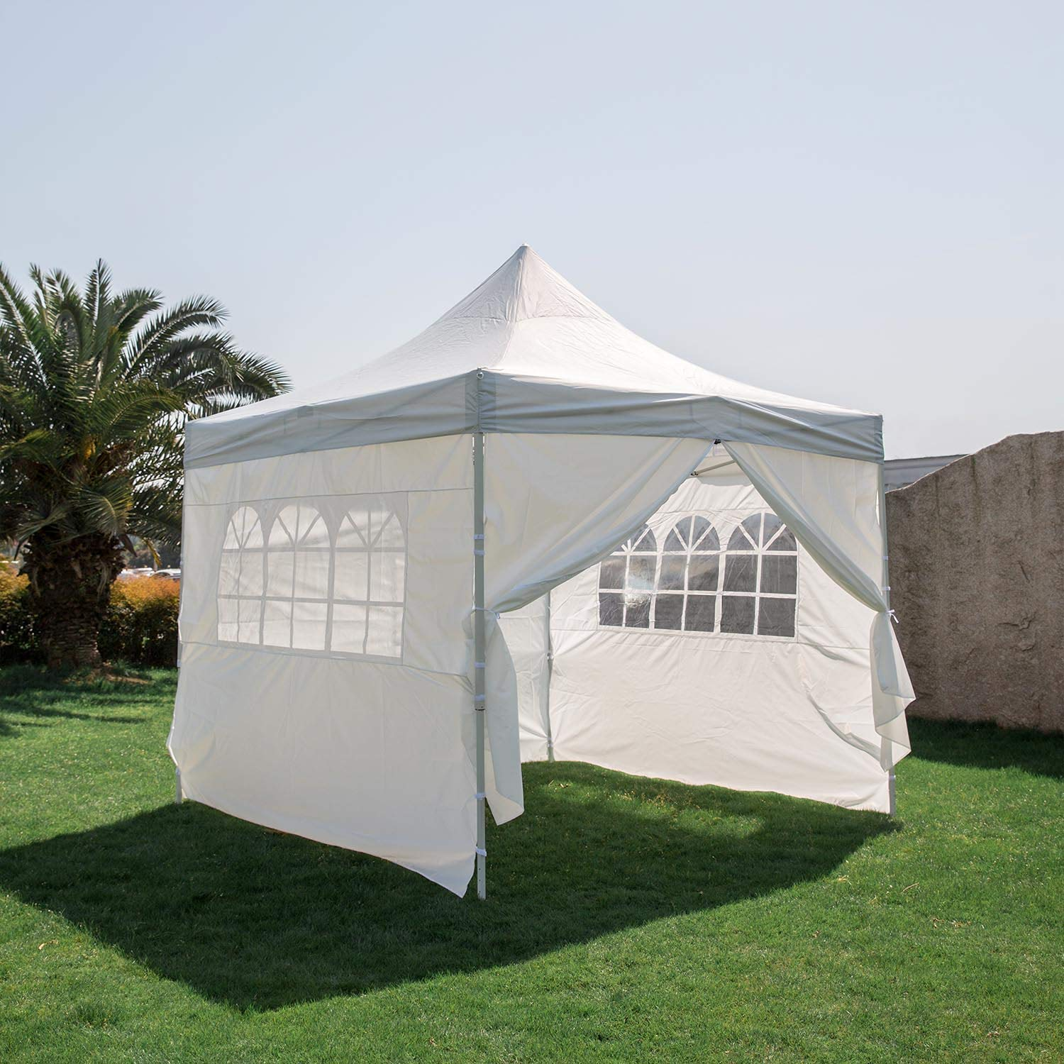 Kinbor 10x10' EZ Pop Up Canopy Commercial Gazebo Waterproof Party Tent Portable Pyramid-roofed Style Removable Sides