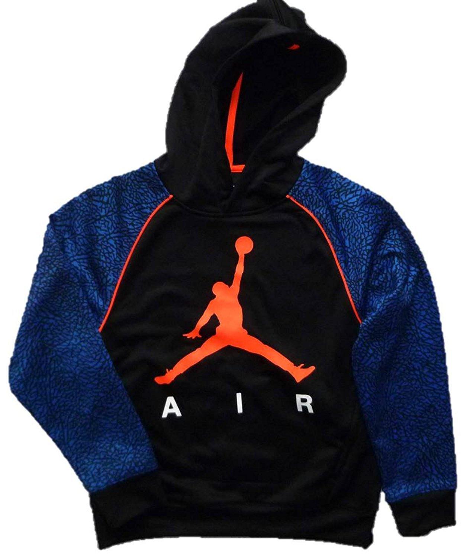 Jordan Nike Jumpman Boys' Elephant Print Therma-Fit Pullover Hoodie (Medium (10-12 Yrs), Blue/Black/Orange)