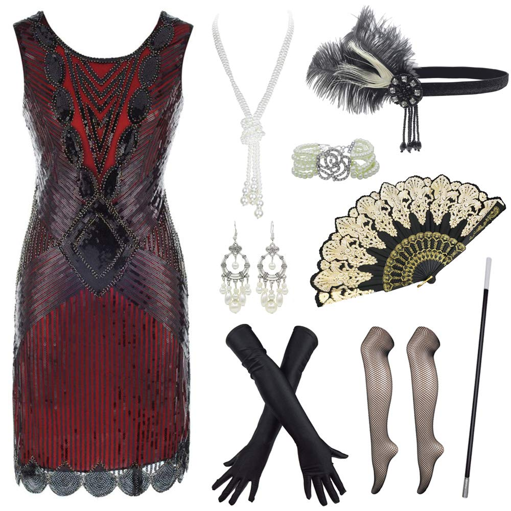 Amazon.com: Plus Size 1920s Inspired Sequin Layer Tassel ...
