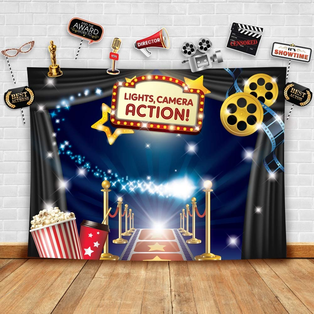 Hollywood - Movie Theme Photography Backdrop and Studio Props DIY Kit. Great as Dress-up and Awards Night Ceremony Photo Booth Background, Vintage Costume Birthday Party Supplies and Event Decorations by Glittery Garden