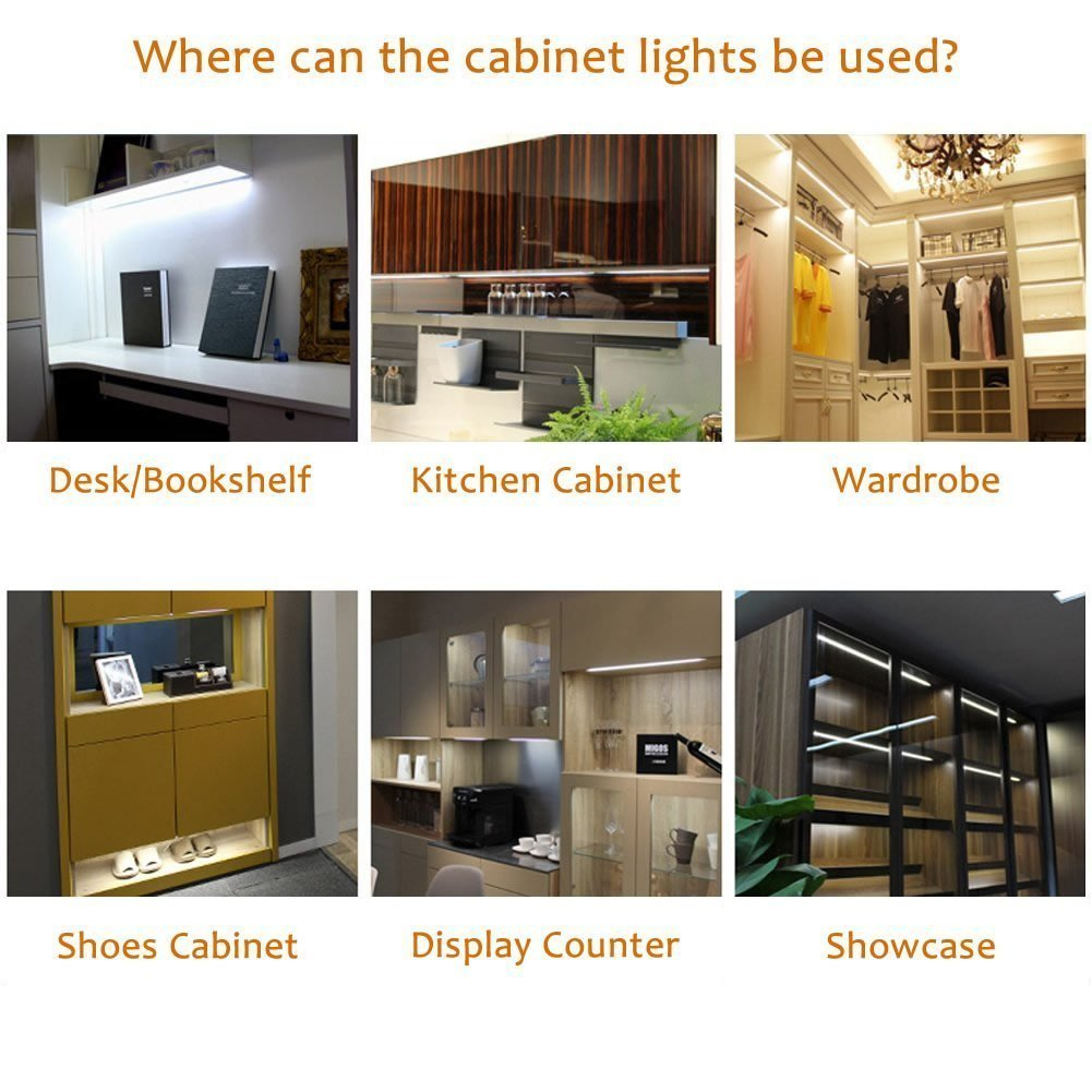 4 Lights, Warm white AIBOO Linkable LED Under Cabinet Lights 12V Slim Aluminum Dimmable Puck Lights with RF Remote Control /& UL Listed Power Adapter for Accent Lighting