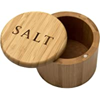 """Totally Bamboo Salt Box, Bamboo Storage Box with Magnetic Swivel Lid,""""Salt"""" Engraved on Lid"""