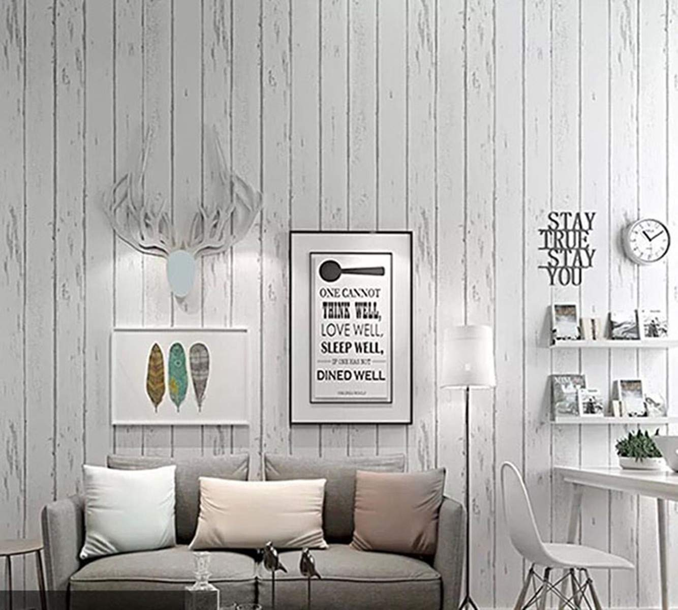 Furniture Stickers Home Kitchen White Wood Contact Paper Self Adhesive Vinyl Film Pvc White Gray Wood Wallpaper Durable Kitchen Stickers Bathroom Waterproof Shelf Furniture Counter Wall Table Peel Stick 45cm 2m Stain Resistant